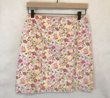 Lilly Pulitzer 2 Vintage A-Line Floral Ladybug Pink Green Yellow Lined Skirt