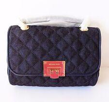 NWT Michael Kors Vivianne Quilted Medium Flap shoulder bag ~ Dark Denim