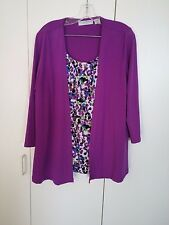 SAG HARBOR STRETCH LADIES L 2-PC LOOK TOP-WORN ONCE-LOVELY TIERED UNDER-LAYER