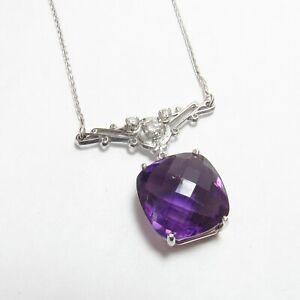Estate 14K White Gold 14.00 Ct Natural Purple Amethyst Diamond Pendant And Chain