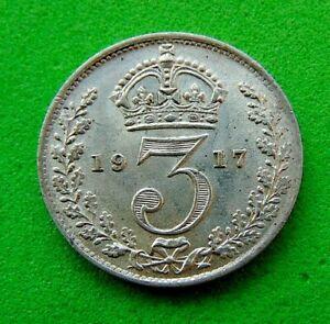 A  CHOICE  B.UNC  WW1  *1917*  SILVER  THREEPENCE  3d ...LUCIDO_8  COINS