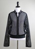 ELIE TAHARI $348 Embroidered Sheer Zip Front Banded Jacket Top Size Medium