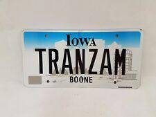 Iowa Personalized License Plate TRANZAM Authentic Boone County