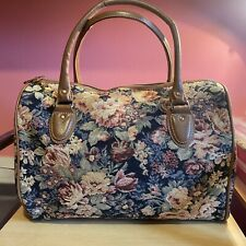 Signare Tapestry Floral Overnight Weekend Bag - Brown Handles Vintage Style