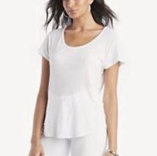Revolve Lamade XSmall White Short Sleeve Linen T-shirt Top Scoop Crew Neck
