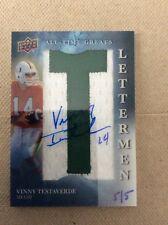Vinny Testaverde 2013 Quantum Football On Card Auto Letterman #'d 5/5