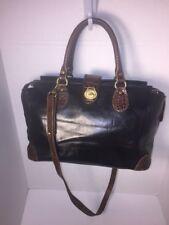 BRAHMIN Vintage Black SHOULDER Crossbody Satchel CROC EMBOSSED Leather