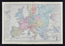 1885 Drioux Map Europe French Empire France Germany Italy Austria Spain Holland