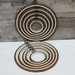 Nurge Embroidery Flexi Hoop Round Cross Stitch Display Wood Effect in 5 Sizes