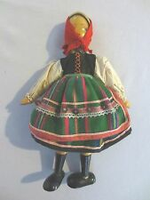 Vintage 1950's Wooden Jointed Girl Ethnic Dress Peg Type Doll Made In Poland