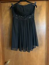 May Queen Size 10 Black Short Strapless Chiffon Party Dress