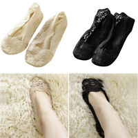 5 Pairs Women Invisible No Show Nonslip Loafer Lace Boat Liner Low Cut Socks US
