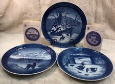 3 Vintage Royal Copenhagen Christmas Winter Collector Plates 1967-1969