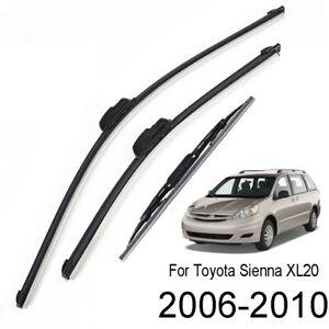 3Pcs/set Front Rear Wiper Blades 26''+19''+16'' For Toyota Sienna XL20 2006-2010
