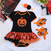 Baby Girl Halloween Pumpkin Costume Outfits Romper Party Tutu Fancy Dress Shoes