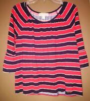 MICHAEL KORS  Women's 3/4 Sleeve Red Blue Striped Blouse Shirt Top (SIZE L)