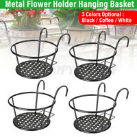 4X Plant Stand Flower Holder Hanging Pot Basket Balcony Garden Wall Storage Rack