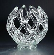 "New 11"" Hand Blown Glass Art Web Vase Bowl Clear  Decorative"