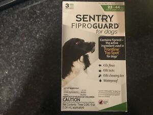 SENTRY FIPROGUARD FOR DOGS FLEA TICK LICE 3 MOS SUPPLY 23-44 LBS FREE SHIPPING!