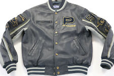 mens polaris leather jacket xl extra blue gray 50 years bomber varsity snap up