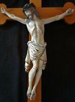NEUGOTISCHER CHRISTUS am KREUZ SKULPTUR HOLZ JESUS FIGUR KRUZIFIX 19.Jhd