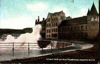 Storm View on New Promenade Aberystwyth postcard antique Wales colour printed