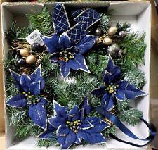 Weihnachten Türkranz Fensterkranz Kranz Weihnachtsstern in blau Blüten in Blau