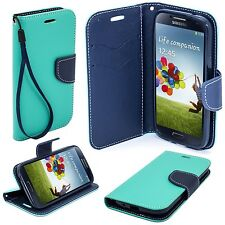 * Book Case Hülle Handy Cover Etui Tasche Leder-Imitat Samsung Galaxy S4 MINT