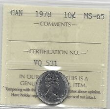 **1978**, ICCS Graded Canadian,  10  Cent, **MS-65**