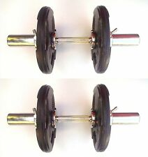 2 x 15KG Olympic Dumbbells (30KG Set) Rubber Tri-Grip Weight Plates, T-Screw