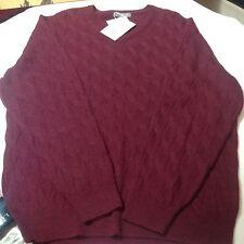 Daniel Cremieux Men Luxury Cable Sweater Vneck Pullover Alpaca Burgundy XXL $150