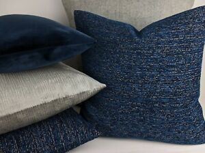 Clarke & Clarke Chenille Weave Fabric Cushion/Pillow Cover Midnight Blue