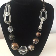 Statement Chunky Brown Beads Plastic Chain Link Necklace Costume Jewellery