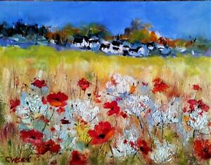 """Original Oil Painting ~ """" Poppies & Cow Parsley""""~ Oil On Panel ~ 8"""" X  6"""""""