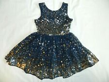 Girls size 4 Party Wedding Dress Fiveloaves Twofish Navy Blue Sequins