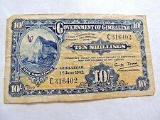 1942 Government Of Gibraltar Ten (10) Shillings Bank Note