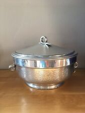 Vintage Round Made in Italy Hammered Aluminum Ice Bucket/Insulated Serving Bowl