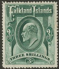 Falkland Islands 1907 KEVII 3sh Deep Green Mint SG49b cat £150