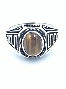 Natural Handmade Tiger's Eye Agate Stone Sterling Silver 925 Men's Ring Size 10