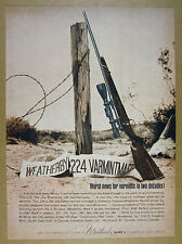 1964 Weatherby .224 Varmintmaster Rifle barbed wire post art vintage print Ad