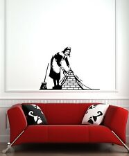 "WALL - Banksy Maid Sweeping - Wall Vinyl Decal (30""w x 24""h) (BLACK)"