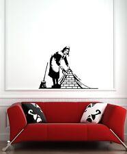 "WALL - Banksy Maid Sweeping - Wall Vinyl Decal (30""w x 22""h) (BLACK)"