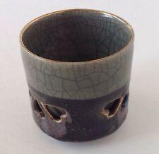Japan Somayaki Tea Cup Crackle Glaze Double Wall Heart Soma Horse Inside Gold