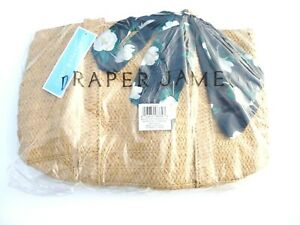DRAPER JAMES EVERYDAY NATURAL STRAW TOTE BAG DOUBLE HANDLE NAVY FLORAL SCARF NEW