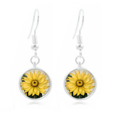Sunflower Art Tibet Silver Dome Photo 16MM Glass Cabochon Long Earrings #485