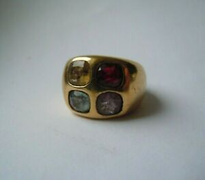Rare Faberge design IMPERIAL Russian 84Silver Ring in Gold with natural Stones
