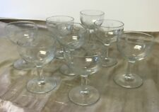 """Vintage Set of 8 Coupe Champagne Glasses Etched Grapes, Flowers & Leaves 4"""""""