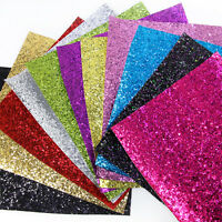 20*34 cm Solid Color Chunky Glitter Faux Leather For Earrings Hair Bows Making