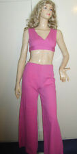 LADIES 1970S 70S DISCO PINK  FANCY DRESS COSTUME TOP TROUSERS 60S HIPPY 10 USED*