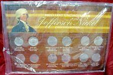 BRILLIANT UNCIRCULATED 12 COIN JEFFERSON NICKEL 1938-2011 COLLECTION SET COA